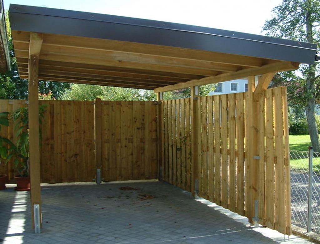 Cocheras de madera techo de madera para cochera with for Cubiertas para techos livianas